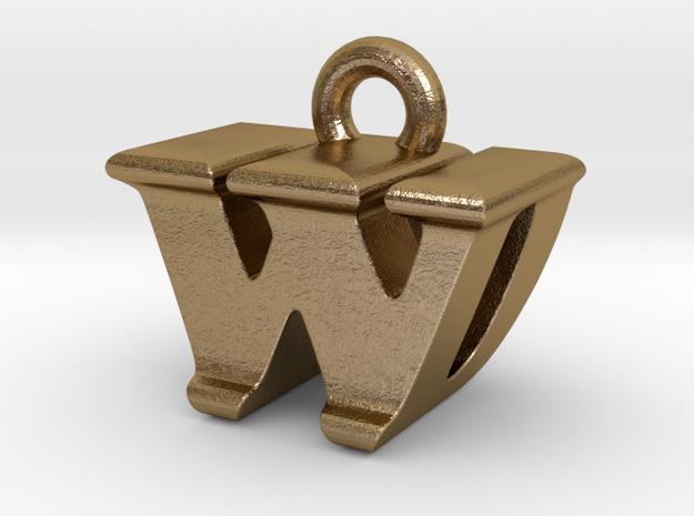 3D Monogram - WDF1 in Polished Gold Steel