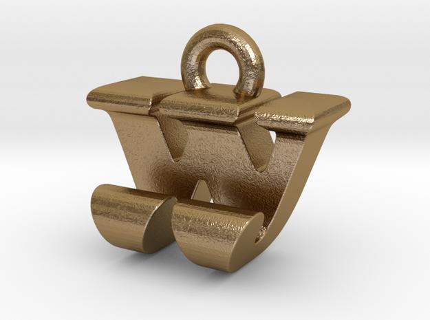 3D Monogram - WJF1 in Polished Gold Steel