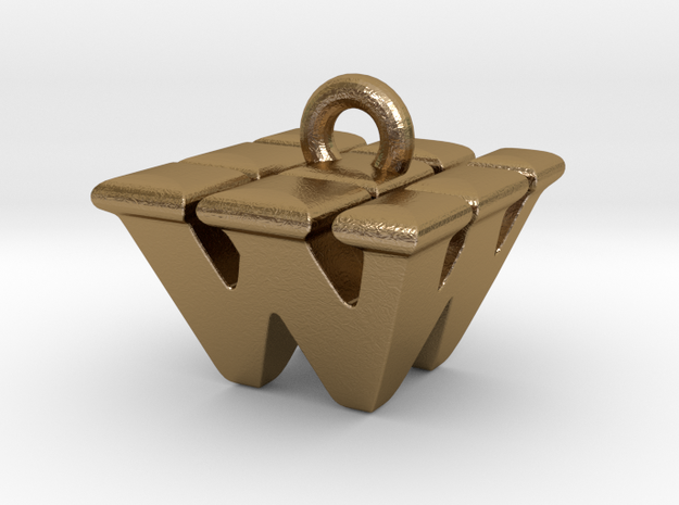 3D Monogram - WWF1 in Polished Gold Steel