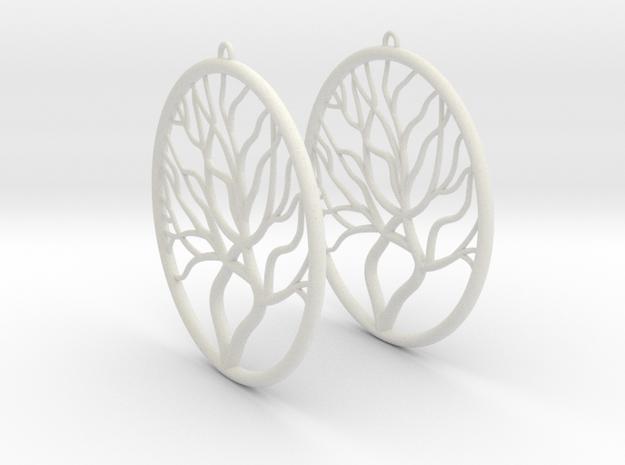 Tree Big Hoop Earrings 60mm in White Natural Versatile Plastic