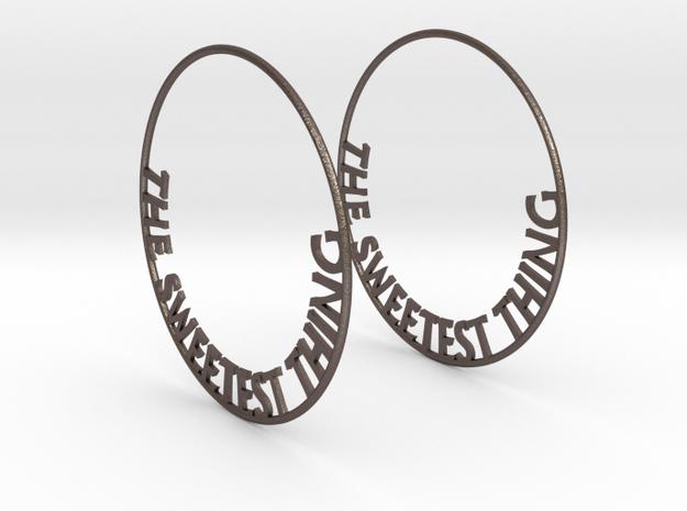 The Sweetest Thing Hoop Earrings 60mm in Polished Bronzed Silver Steel