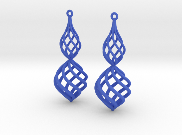 Posh Big Earrings 50mm in Blue Processed Versatile Plastic