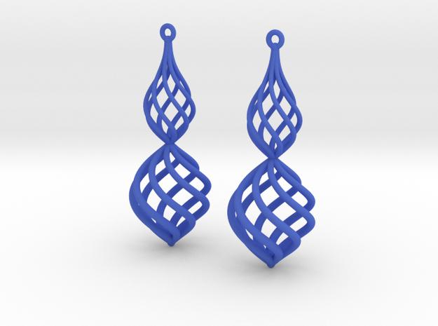 Posh Big Earrings 50mm in Blue Processed Versatile Plastic