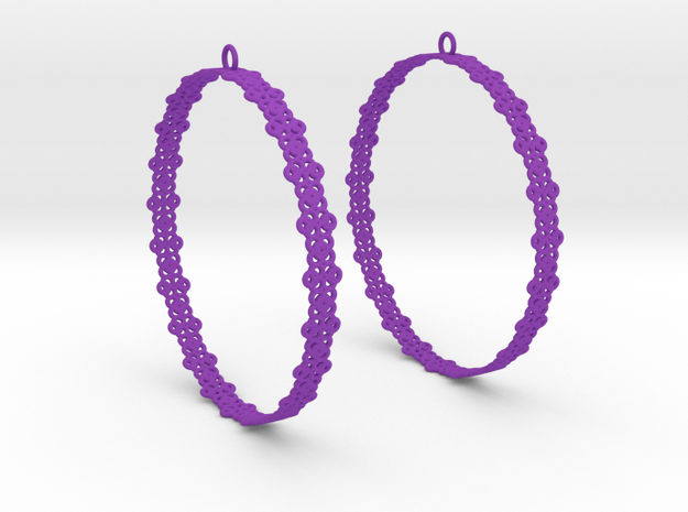 Knitted 2 Hoop Earrings 60mm in Purple Processed Versatile Plastic