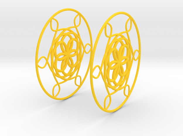 Flowerish 6 Big Hoop Earrings 60mm in Yellow Processed Versatile Plastic