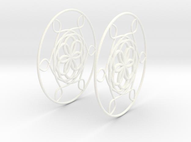Flowerish 6 Big Hoop Earrings 60mm in White Processed Versatile Plastic