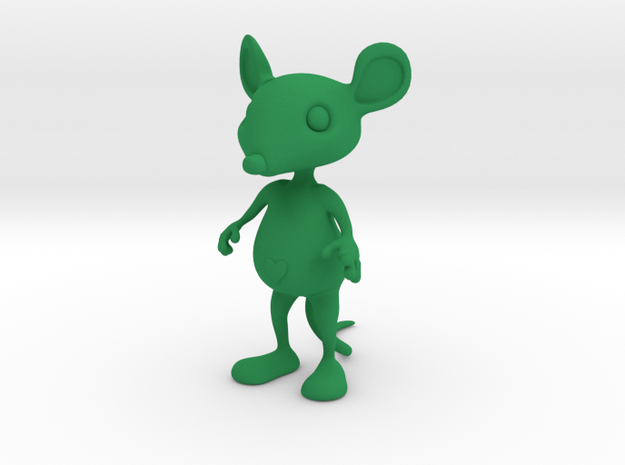 Tiny Heart Mouse in Green Processed Versatile Plastic