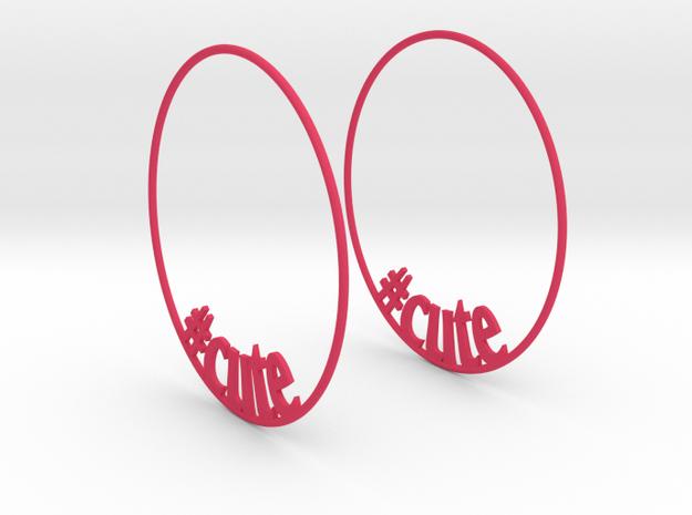 Hashtag Cute Big Hoop Earrings 60mm in Pink Processed Versatile Plastic