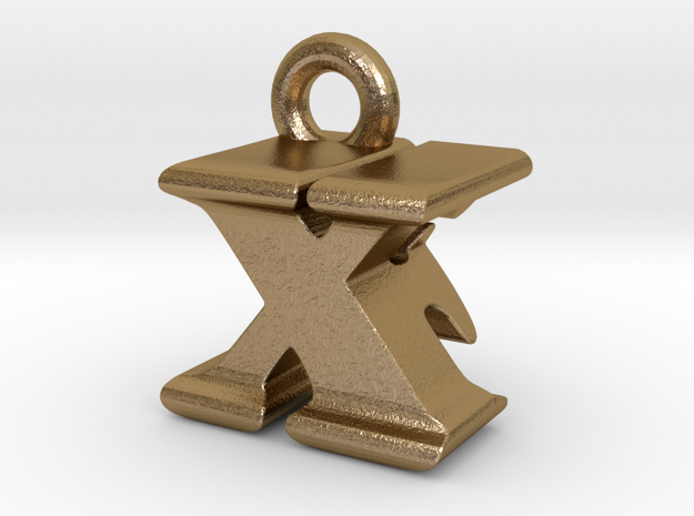 3D Monogram - XFF1 in Polished Gold Steel