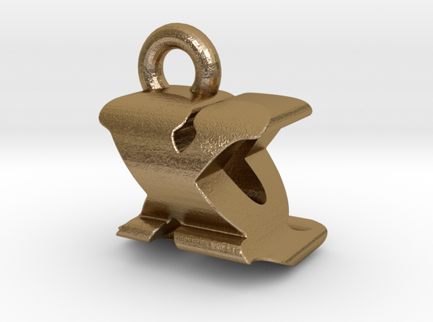 3D Monogram - XQF1 in Polished Gold Steel