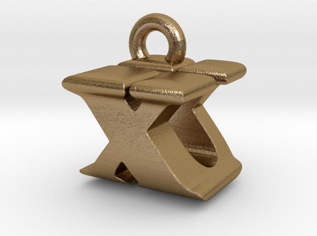 3D Monogram - XUF1 in Polished Gold Steel