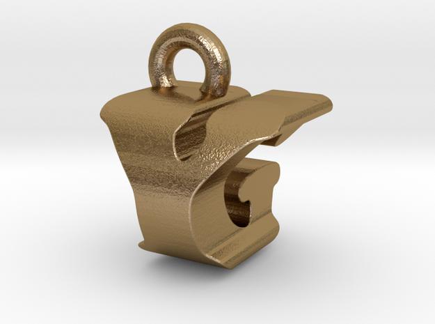 3D Monogram - YGF1 in Polished Gold Steel