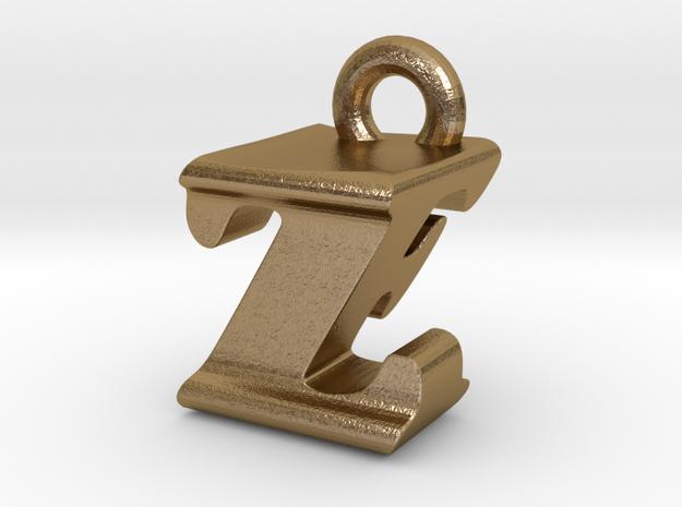 3D Monogram - ZFF1 in Polished Gold Steel