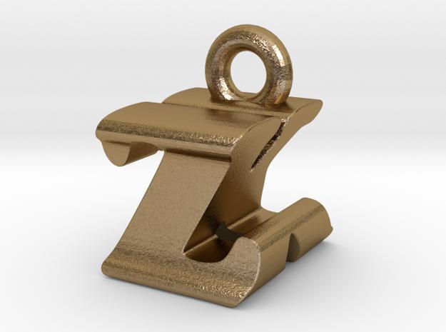 3D Monogram - ZKF1 in Polished Gold Steel