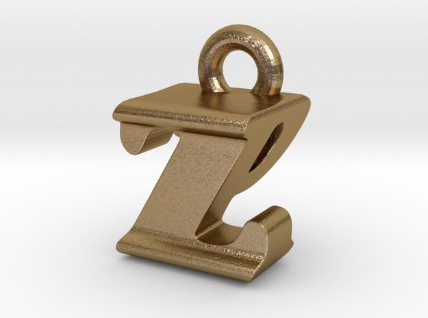3D Monogram - ZPF1 in Polished Gold Steel