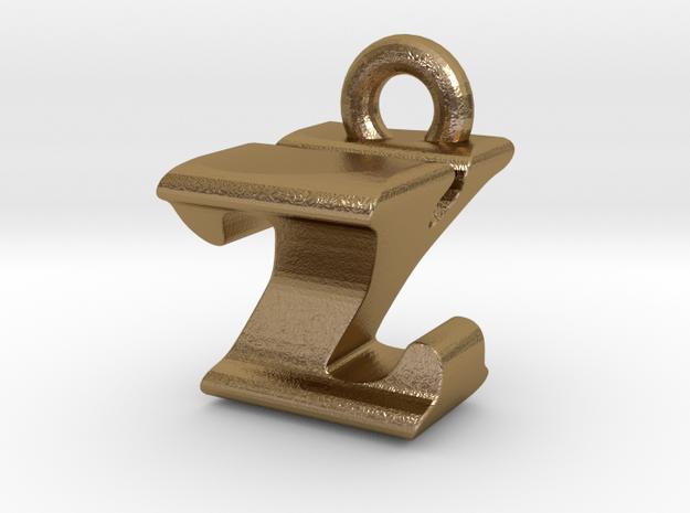 3D Monogram - ZYF1 in Polished Gold Steel