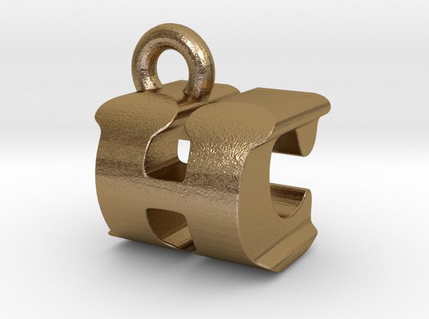 3D Monogram Pendant - HCF1 in Polished Gold Steel