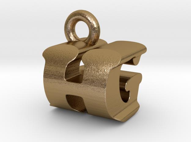 3D Monogram Pendant - HGF1 in Polished Gold Steel