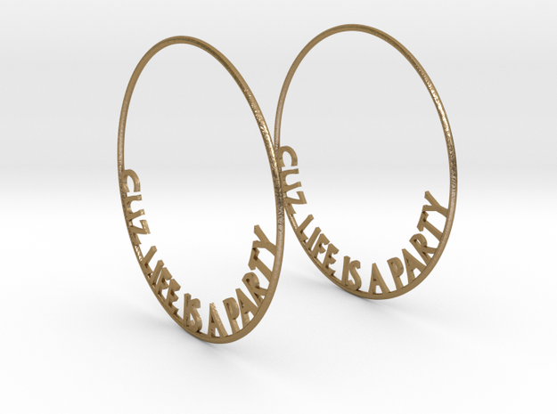 Cuz Life Is A Party Big Hoop Earrings 60mm in Polished Gold Steel