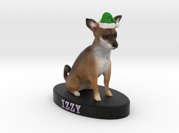 Custom Dog Figurine - Izzy (with green Santa hat) in Full Color Sandstone