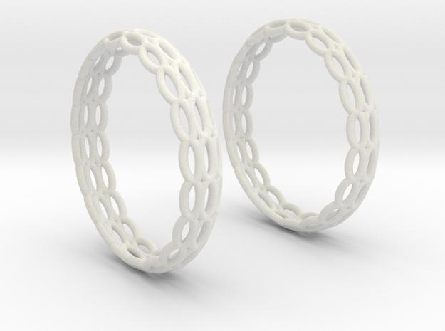 Wired Beauty 4 Hoop Earrings 30mm in White Natural Versatile Plastic
