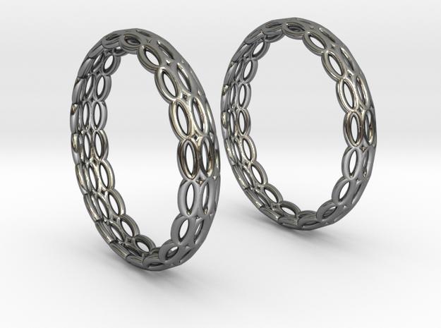 Wired Beauty 4 Hoop Earrings 30mm in Fine Detail Polished Silver