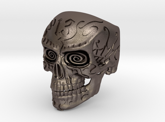 WR Ring FullSkull Hwy 13 - Size 8.5 in Polished Bronzed Silver Steel