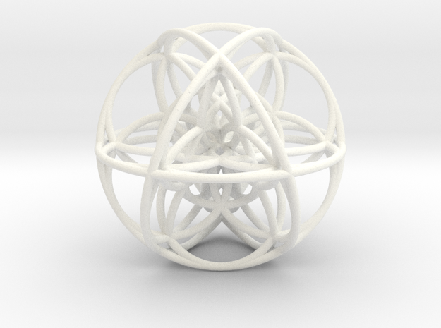 Cuboctahedral Flower of Life Sacred Geometry in White Processed Versatile Plastic