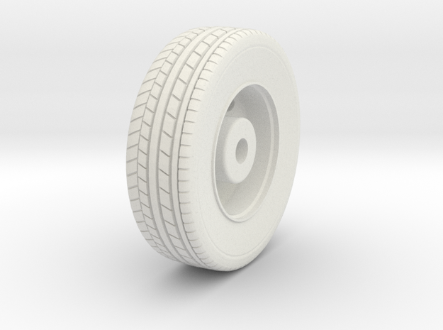 1/87 HO Seagrave Tractor Front Wheel in White Natural Versatile Plastic