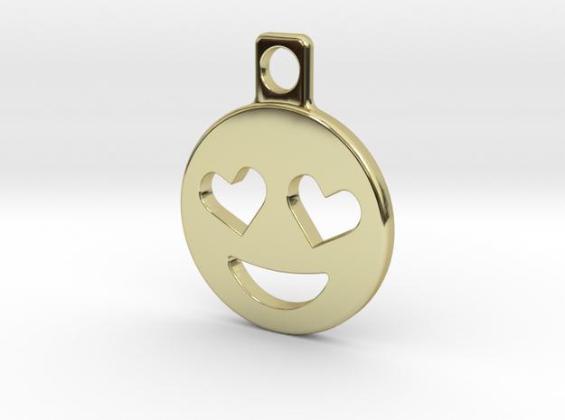 Heart Eyes Emoji Keychain in 18k Gold