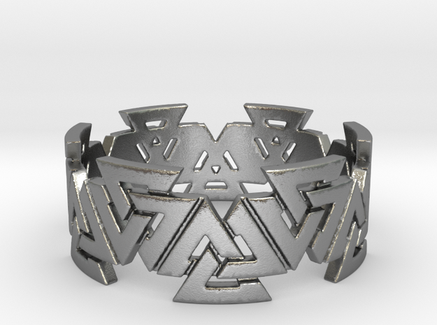 Valknut Ring. Sizes available  in links below. in Natural Silver
