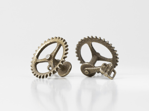 Bicycle Chainring Cufflinks in Stainless Steel