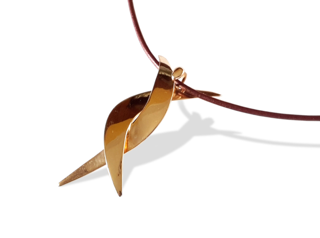 Donna pendant 3d printed Polished Bronze
