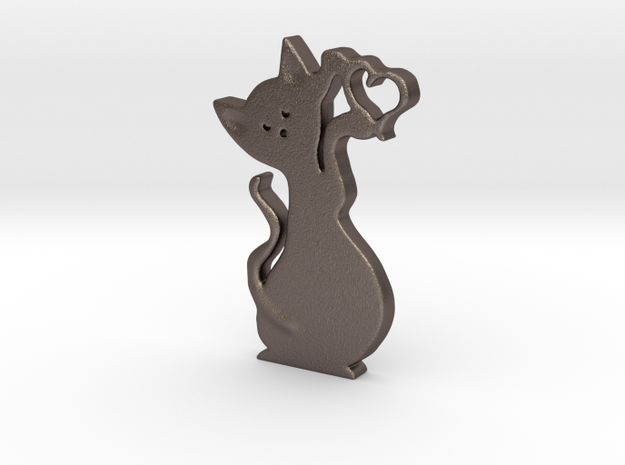Gatto cuore 3cm in Stainless Steel