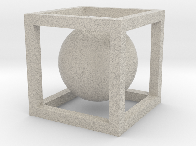 Sphere In A Cube in Natural Sandstone