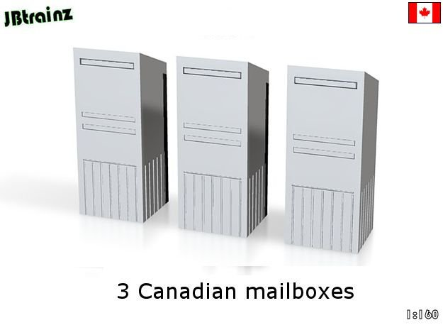 3 Canadian Mailboxes (1:160) in Smooth Fine Detail Plastic