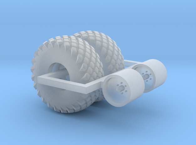 1:87 scale     16.5L X 16.1 Turf Tire And Wheels in Smooth Fine Detail Plastic