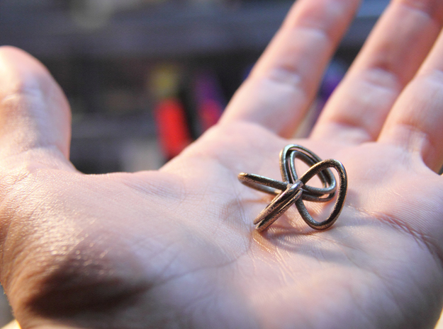 1 Inch Cut Mobius in Polished Bronzed Silver Steel