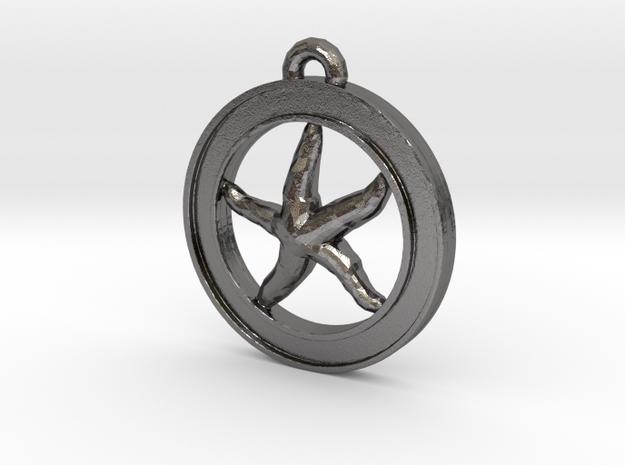 Starfish Circle-pendant in Polished Nickel Steel