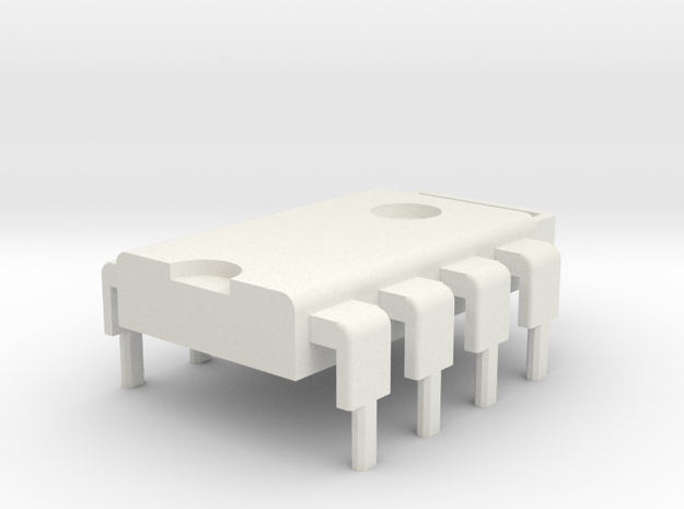 8-Pin DIP IC Pendant in White Natural Versatile Plastic