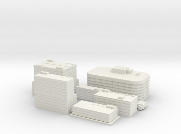 City Building Set (8 in 1) - 1 piece version in White Natural Versatile Plastic