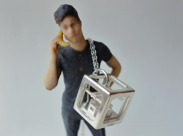 3D Printer Pendant in Polished Silver