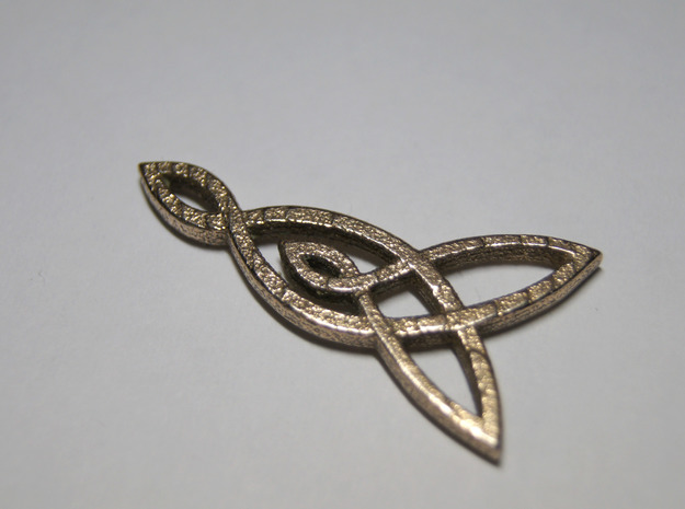 Triquetra Celtic Necklace Right Piece in Polished Bronzed Silver Steel