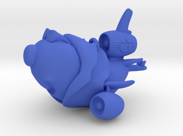 """Air Force Cartoon Plane Pendant (2.6"""") in Blue Processed Versatile Plastic"""