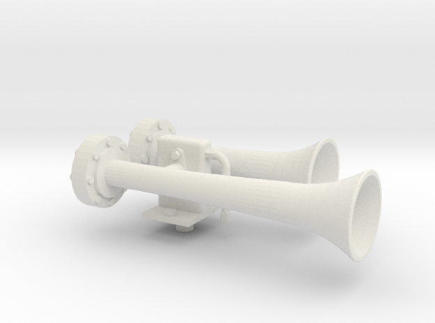 """1.5"""" scale nathan air horn in White Natural Versatile Plastic"""