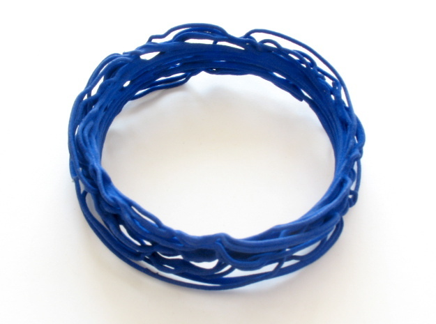 Turbulent Bangle 1 in Blue Processed Versatile Plastic