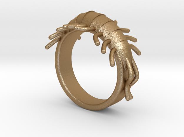 Millipede Ring 17mm in Matte Gold Steel