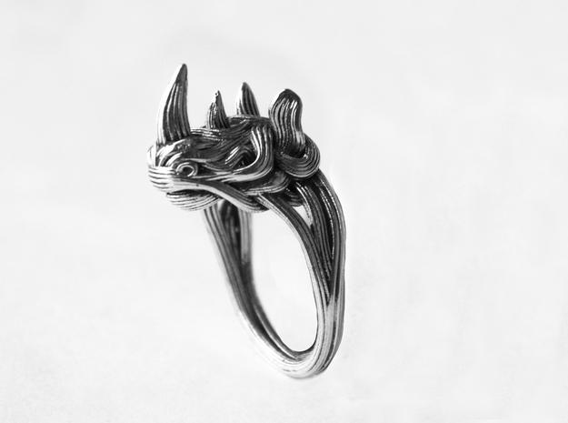 Rhinoceros Ring  in Raw Silver