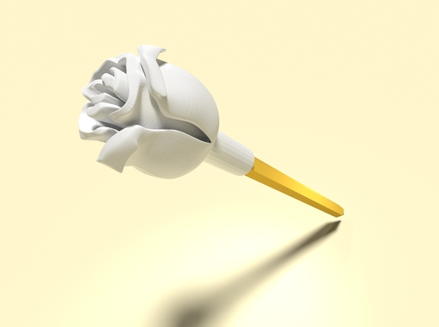 Rose (Pen Cap) in White Strong & Flexible Polished