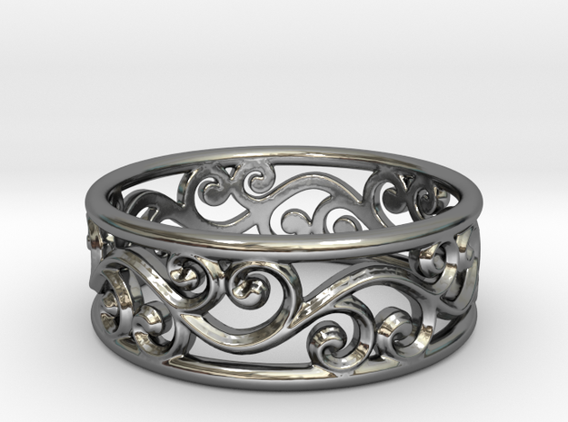 Hollow swirls ring size 7 in Fine Detail Polished Silver